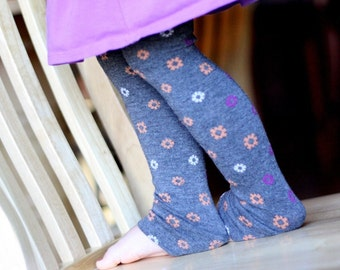 Orange Purple and White Little Flowers on Charcoal Gray Baby Leg Warmers Sale