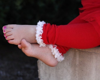 Red and White Christmas Baby Leg Warmers