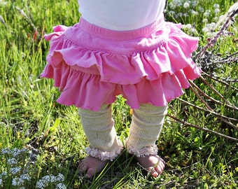 Pink on Beige Baby Toddler Leg Warmers