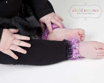 Pink on Black Baby Leg Warmers Sale