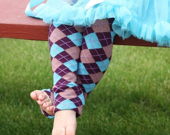 Eggplant and Turquoise Argyle Baby Toddler Leg Warmers Sale