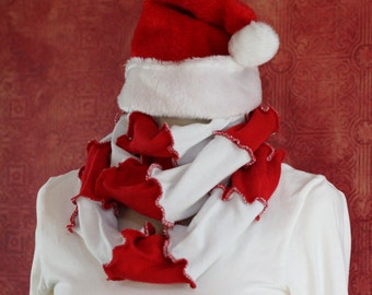 Red and White Endless Scarf