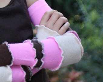 Brown Pink and Beige Girls Arm Warmers