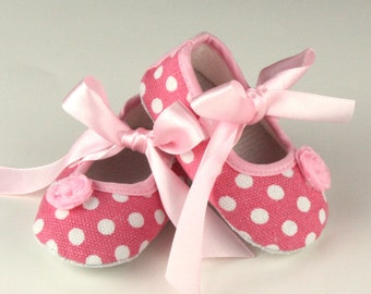 Light Pink and White Polka Dot Baby Shoes Clearance