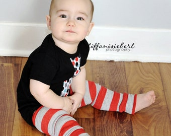 Red and Gray Striped Baby Toddler Leg Warmers