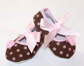 Brown and Pink Polka Dot Baby Shoes Clearance