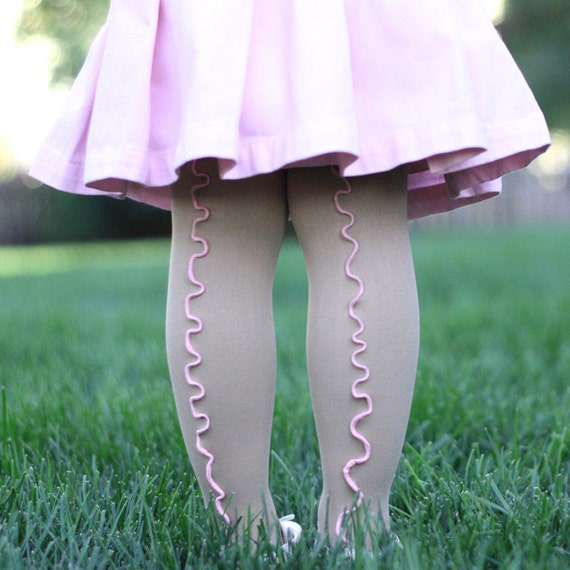 Beige and Pink Girls Stockings Tights