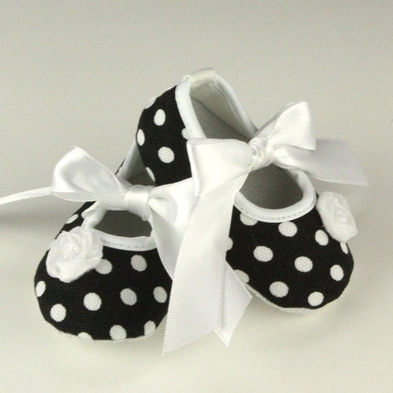 Black and White Polka Dot Baby Shoes Sale