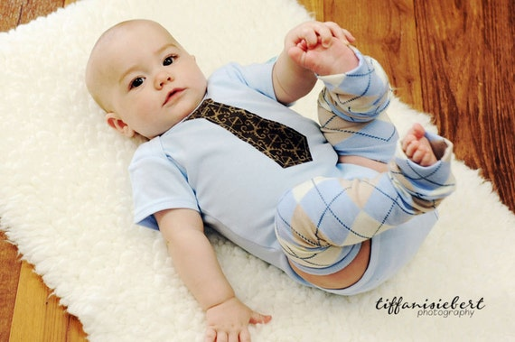 Blue Tan and Ivory Argyle Baby Toddler Leg Warmers