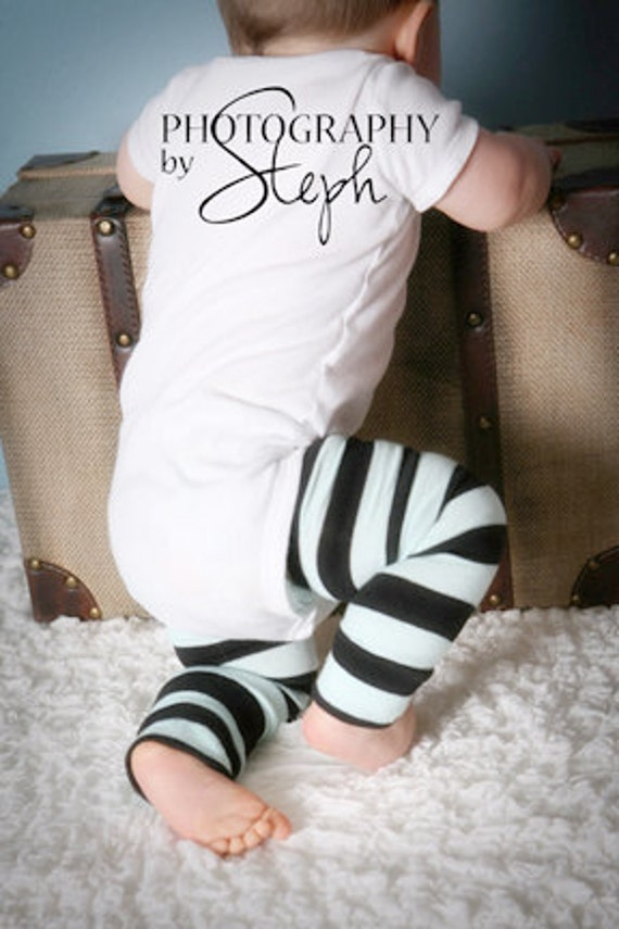Light Blue and Black Striped Baby Leg Warmers