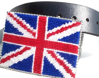 Needlepoint British Flag Belt Buckle