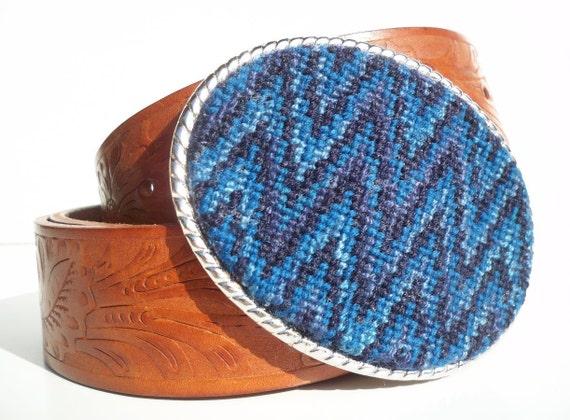 Needlepoint Midnight Florentine Zig Zag Belt Buckle