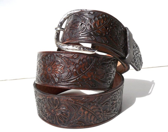 Dark Chocolate Brown Floral Stamp Tooled Leather Snap Belt Size 34
