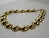 80s Gold Tone Dome Bead Necklace by Monet