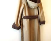 SALE Brown and Tan Reversible Trench Coat with Hood