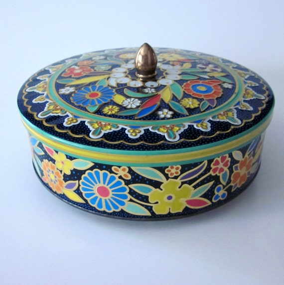 Beautiful Vintage Round English Tin Container - Bright Floral Design by Daher
