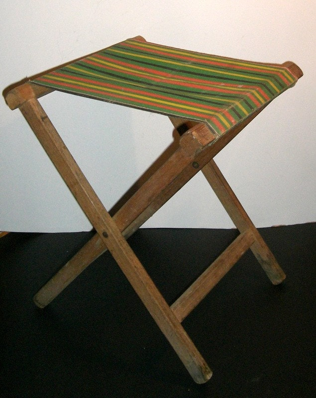 Vintage Folding Camp Stool Wood And Canvas By Cnstark On Etsy