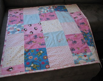 Recycled Flannel Pyjamas Patchwork Funky Monkeys Toddler Throw Blanket