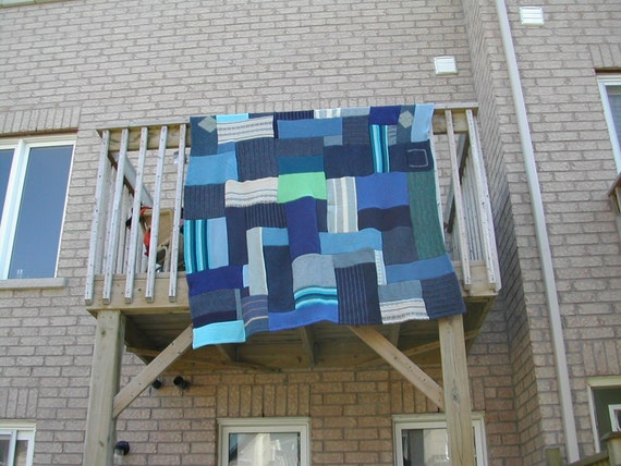 Recycled handcrafted 100 percent felted wool throw, I've Got The Blues