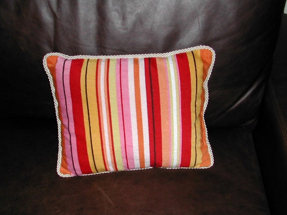 Handmade Needlepoint Pillow, Happy Stripes