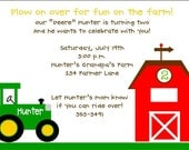 NEW....Personalized Down on the Farm Tractor Invitations