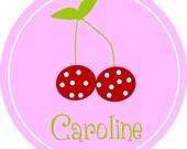 Personalized Girls' Polka Dotted Cherry Tshirt