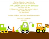 NEW...I Like to Build- Construction Themed Birthday Party Personalized Invitation Set