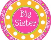 NEW...Personalized Big Sister Pink and Orange Polka Dotted Shirt- The Sophie