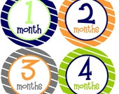 NEW....Baby Boy Monthly Onesie Stickers- The Hudson Design- Great for baby shower gifts or photo props