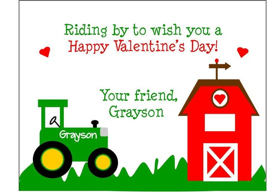 Tractor Valentine Cards : Personalized tractor boys valentine s day cards