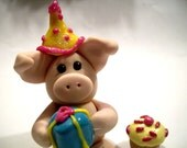 Handcrafted Birthday Party Piggy/Pig  decorative & cake topper
