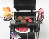 BBQ Grill Summer Cookout - Dollhouse Miniature 1/12 scale OOAK