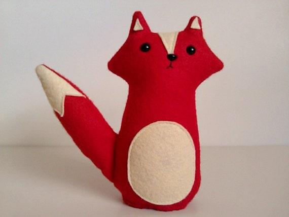 stuffed toy fox, plush toy fox, red fox plushie, yellow fox plush toy, fox nursery decor, woodland fox toy, fox softie