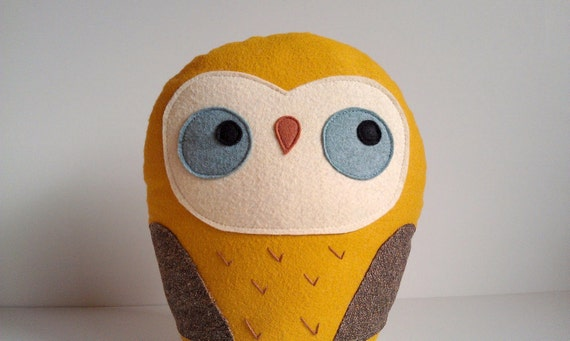 Stuffed owl pillow, giant owl plush, gift idea for kids, owl softie, owl soft sculpture, Herman the giant woodland owl