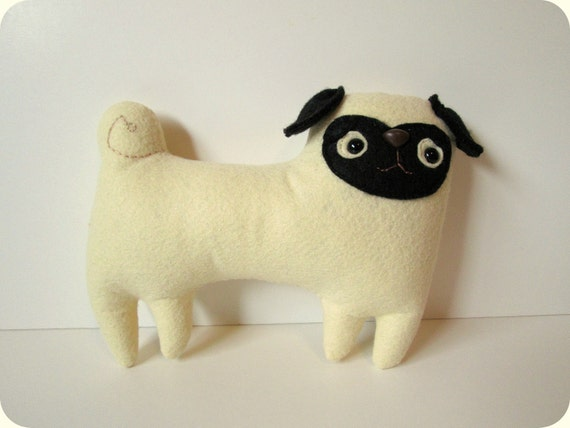 FREE SHIPPING US Stuffed toy pug, plush pug, pug softie, Pixel the pug by Sleepy King