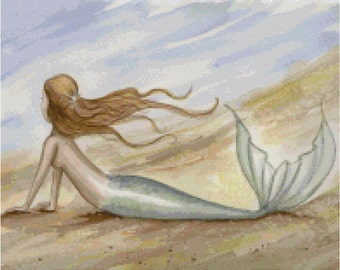 Salty Breeze Mermaid Counted Cross Stitch