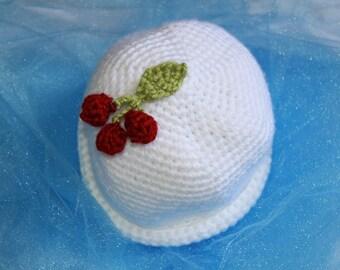 Children's White Crochet Hat with Cherries