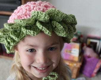 Pretty Posies Crochet Hat Beanie Flower Bonnet Cap