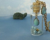 How Do I Get There from Here... Blue Scarab Glass Bottle Pendant Necklace