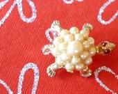 Vintage Faux Pearl Turtle Rhinestone Eyes Pin Brooch