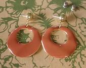 Vintage Burnt Orange Enamel Earrings