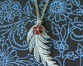 Blue Feather Red Flower Pendant Necklace