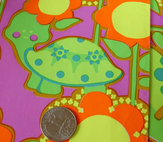 Vintage Neon Flowers Turtles Gift Wrapping Paper