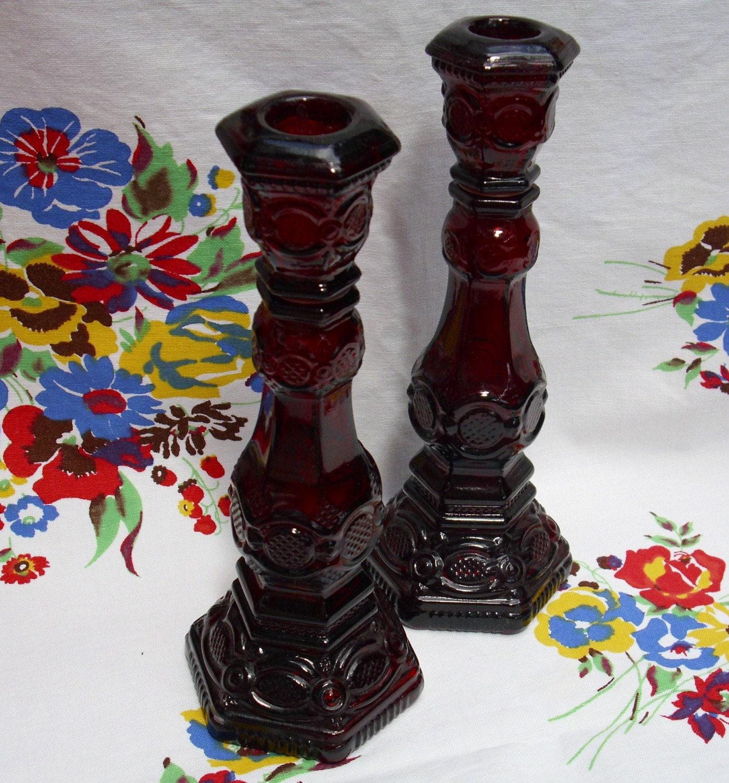 Vintage Avon 1876 Cape Cod Collection Candlesticks