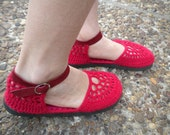 Heart Beat - Red Crochet Shoes With Red Suede Strap