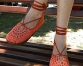 Shocking Orange Crochet Shoes