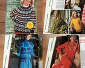 Vintage 70s Knit Crochet patterns Sweaters Jacket Coat Shawl Capes and More