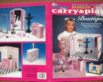 1993 Plastic Canvas pattern Fashion Doll Carry and Play BOUTIQUE