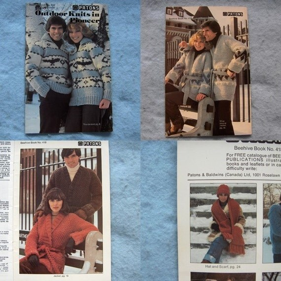 VINTAGE knitting patterns -THUNDERBIRD BUFFALO men women