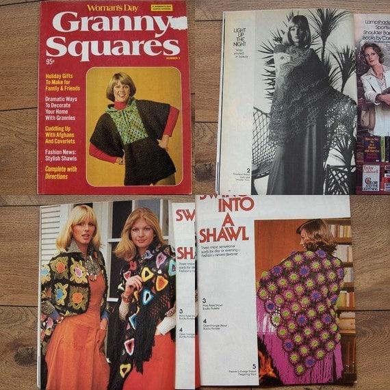 Vintage 1975 Crochet patterns Womans Day Granny Squares - Tops Shawls Dresses  Jackets Afghans